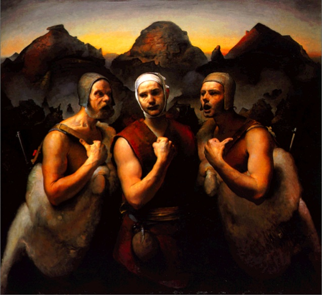 "Odd Nerdrum - ""Two Men Guiding One"""