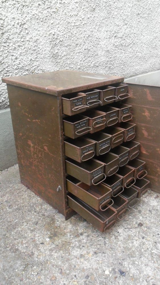 Antique Vintage Industrial Metal 24 Drawer Tools Cabinet Chest.