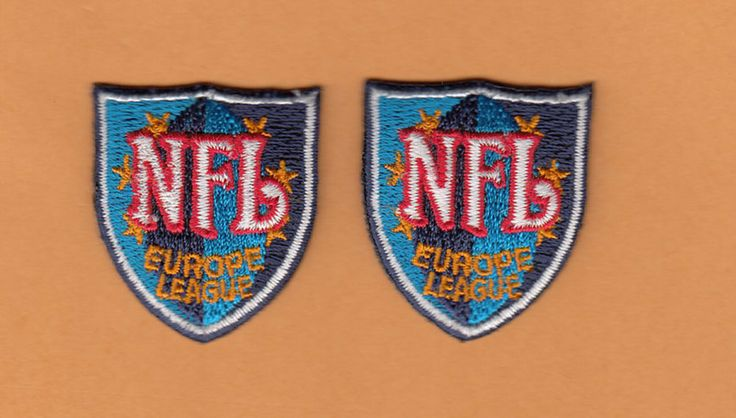 OFFICIAL NFL EUROPE LOGO PATCH x 2 UNUSED JERSEY EQUIP #NFLEuropeLeague