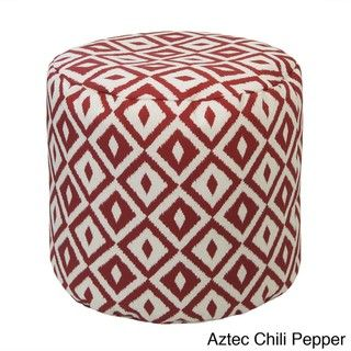 Gold Medal Outdoor Indoor Weather Resistant Bean Bag Ottoman Aztec Chili Pepper Red Size Single Patio Furniture Acrylic