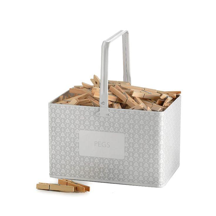 Retro Kitchen Peg Bucket Spring Grey - Fast Shipping