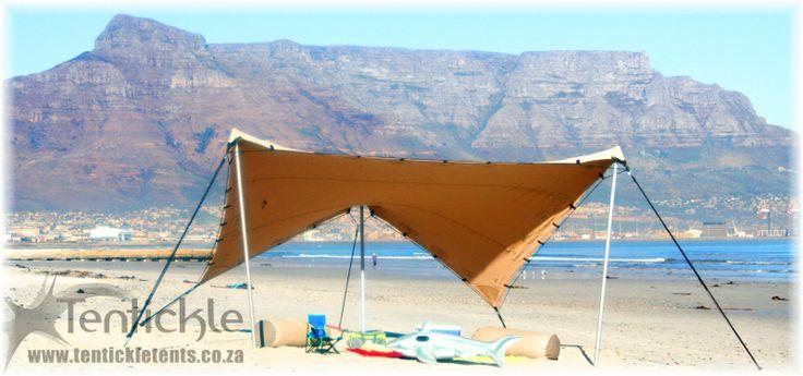 Small bedouin stretch tent beach setup