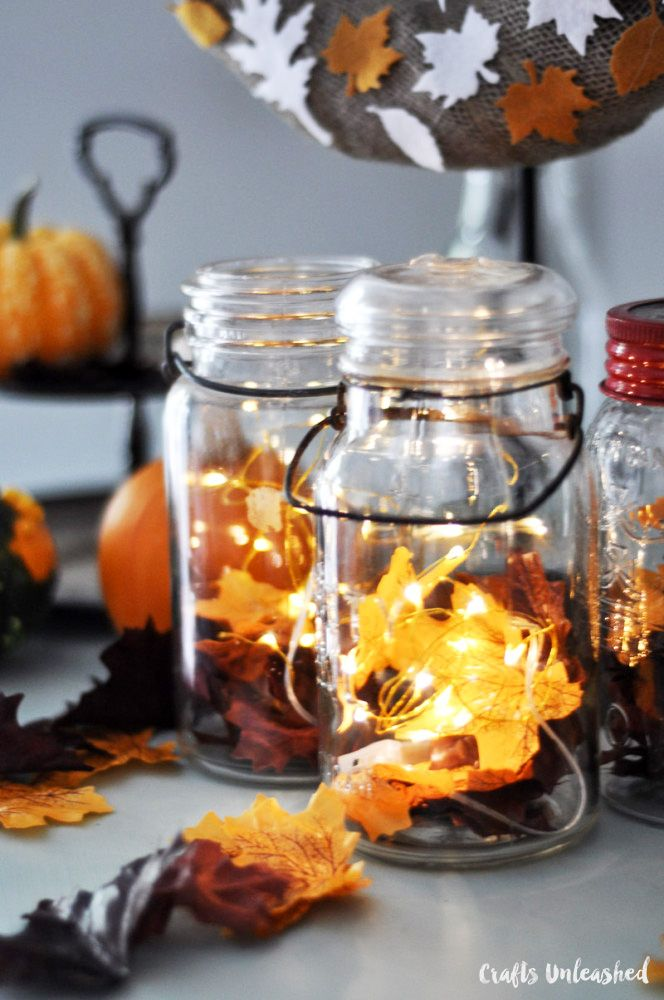 DIY Fall Decor: Mason Jar Lanterns - Crafts Unleashed ...