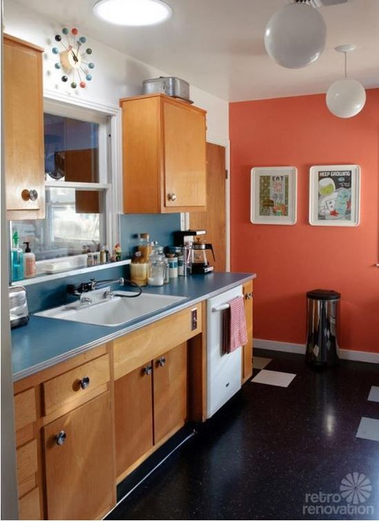 Retro kitchen remodel featuring a Dishmaster M76 faucet. www.dishmasterfaucet.com