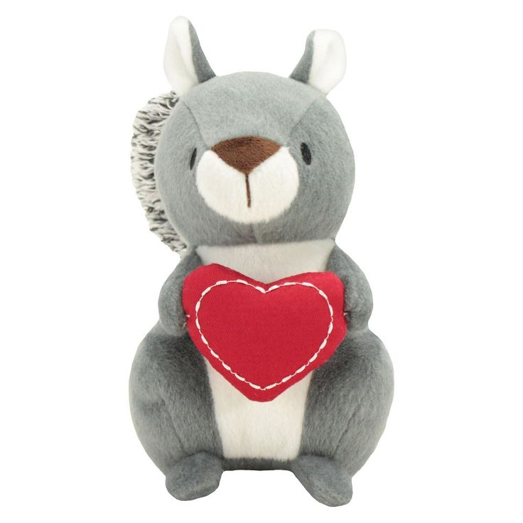 Valentine Squirrel Dog Toy - Red