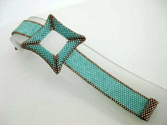 Peyote Square Bracelet 3D Brown Green Seed Bead by MadeByKatarina, $48.00