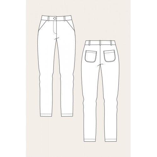 Schnittmuster: Alpi Chinos & Shorts - technische Zeichnung lange Hose