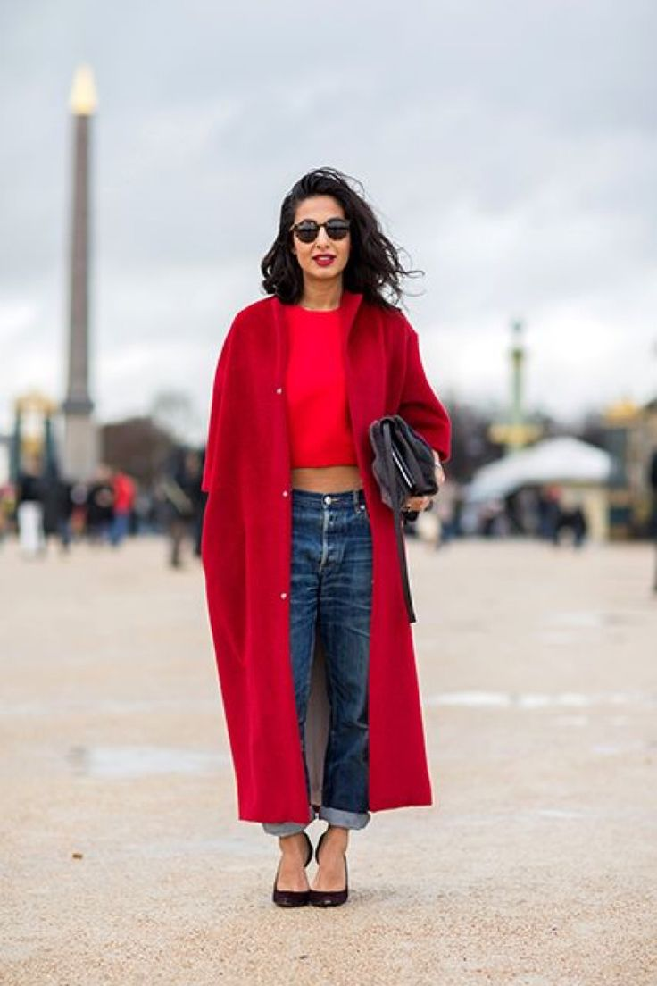 red coat, red crop top, blue jeans