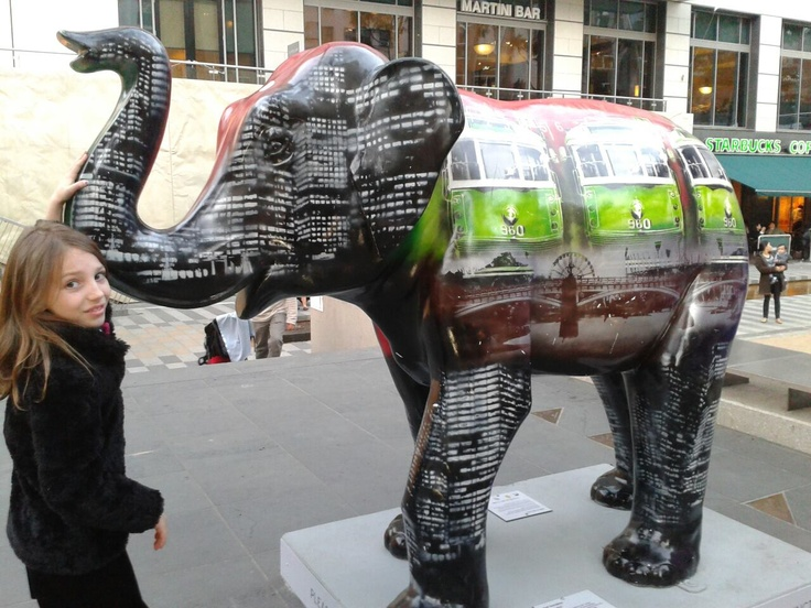 "There are 50 elephants throughout Melbourne, celebrating the 150th anniversary of the Melbourne Zoo. We are on the hunt for all of them. This is ""City in Mali""."
