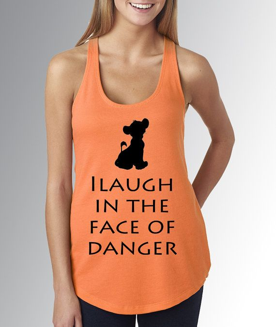 Simba Lion King I Laugh in the Face of Danger * Orange Tank Top * Jersey Top * Disney Running Shirt * RunDisney * Run Disney * Racerback
