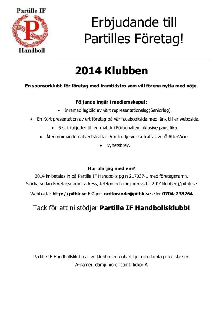 sponsorklubben by pifhandboll via Slideshare