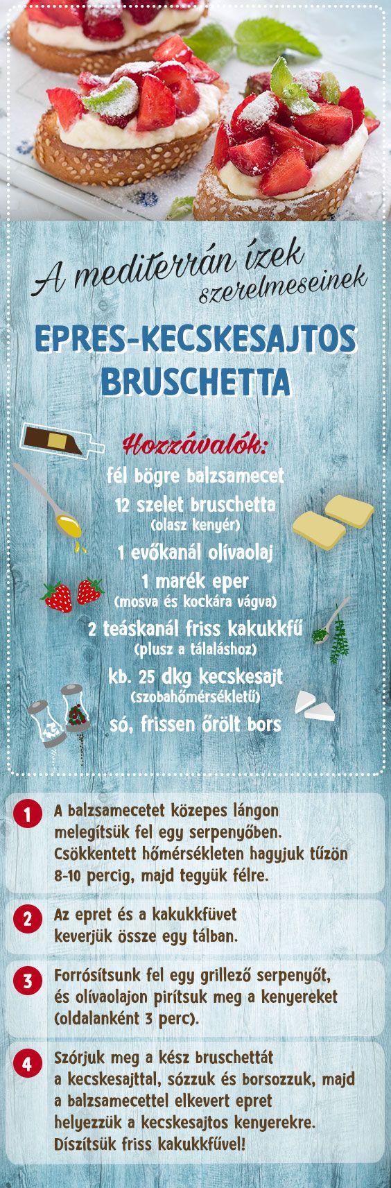 Te is a mediterrán ízek szerelmese vagy? Itt az eperszezon, készítsd el ezt a csodás epres-kecskesajtos bruschettát! #TescoMagyarország #mediterránételek #eper #kecskesajt #bruschetta #recept