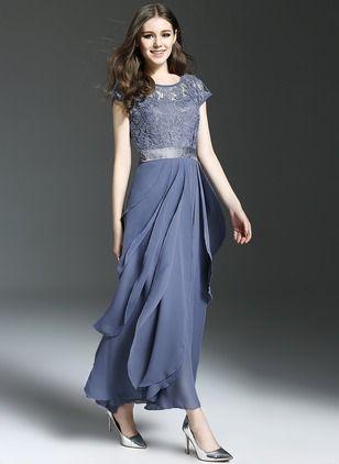 Chiffon Spitze Ärmellos Maxi Elegant Kleider (1025687) @ floryday.com
