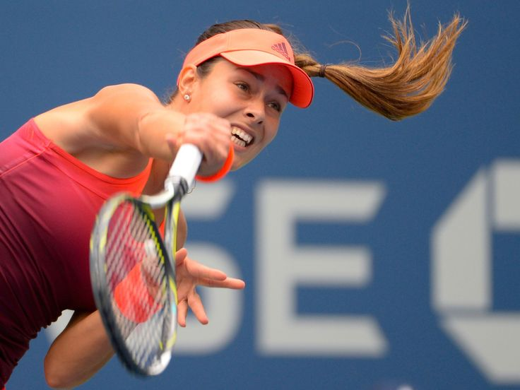 Ana Ivanovic of Serbia hits to Dominika Cibulkova of Slovakia in the first round of the 2015 US Open at USTA Billie Jean King National Tennis Center on Aug. 31, 2015.  Robert Deutsch-USA TODAY Sports
