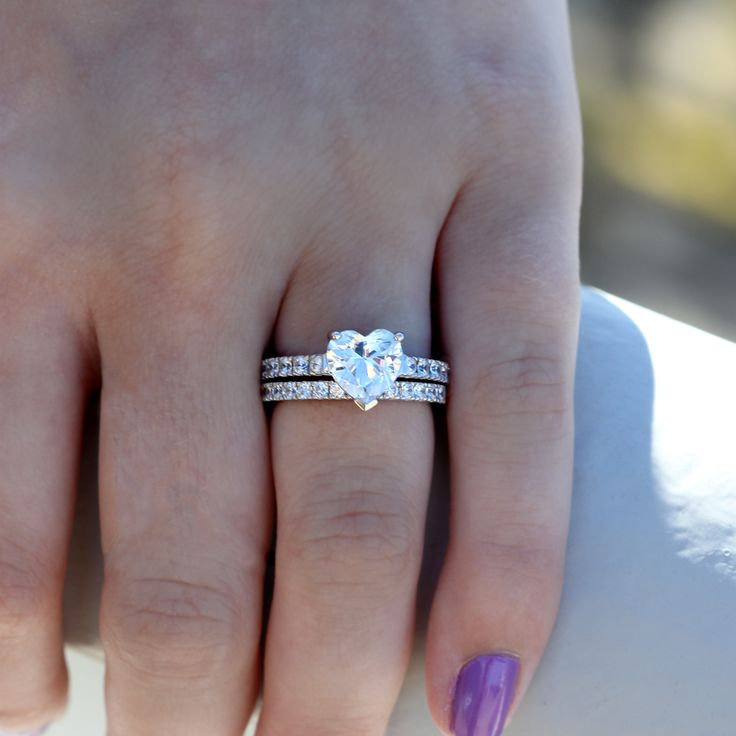 Sterling Silver Cubic Zirconia CZ Solitaire Heart Ring Set 2.31 ct.tw