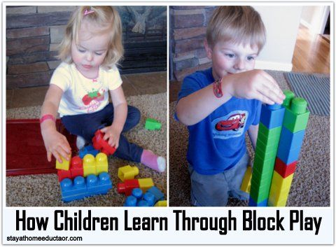 stayathomeeducator Children learn through manipulating and handling blocks. While most first think of block play as building mathematics, block play can have a tremendous impact on other disciplines as well.