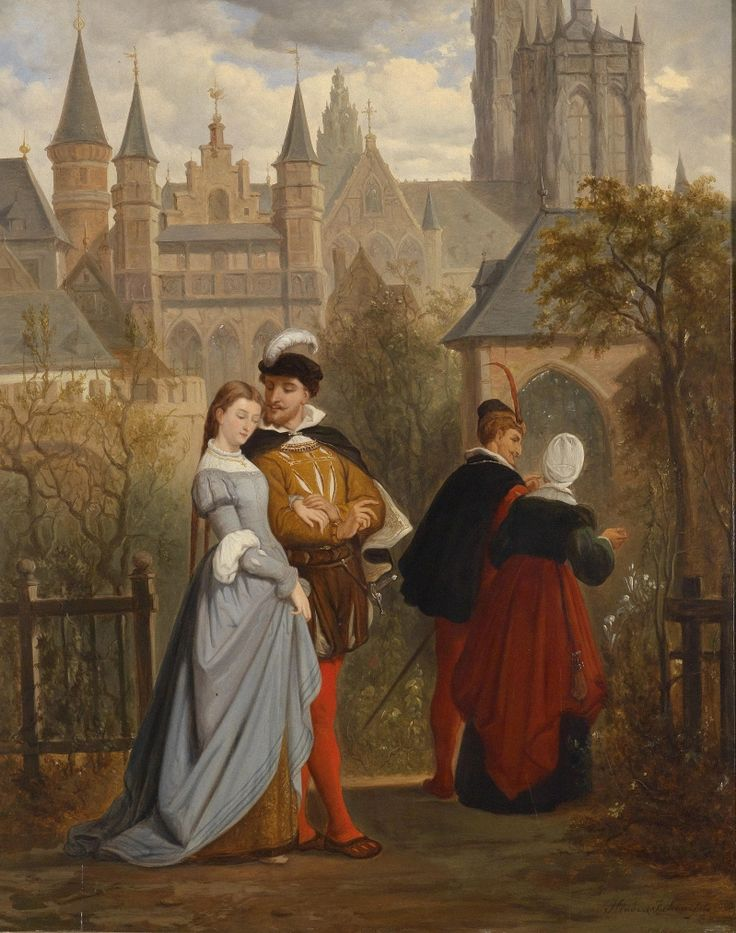 Faust And Gretchen by Hendrik Frans Schaefels, 1863: