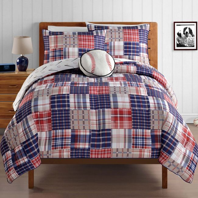 Add a baseball theme to any bedroom decor with the charming Home Run comforter set. Available in full and twin dimensions, the comforter features a multicolored plaid pattern that reverses to a baseball design.