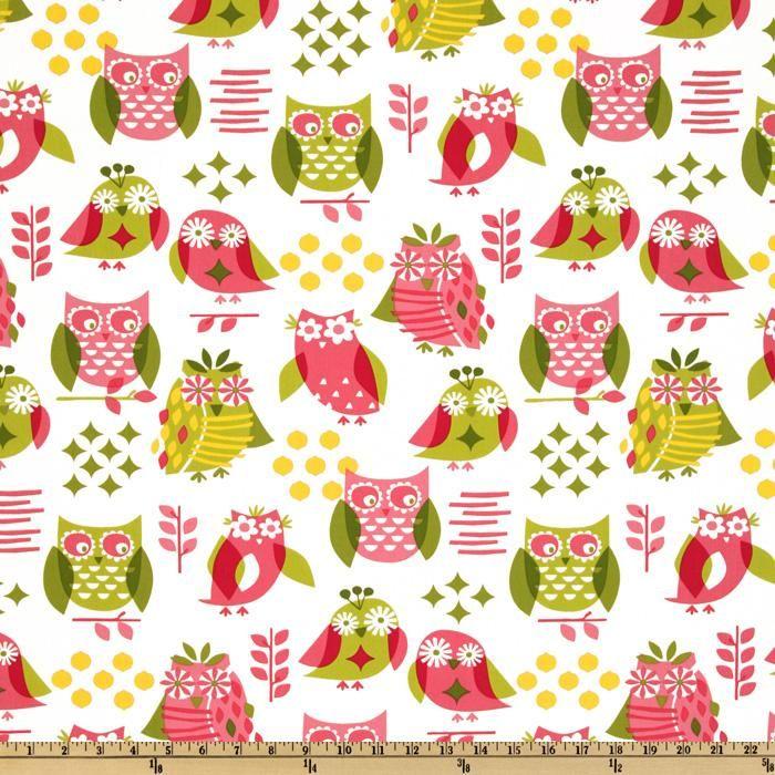 pink green owl fabric