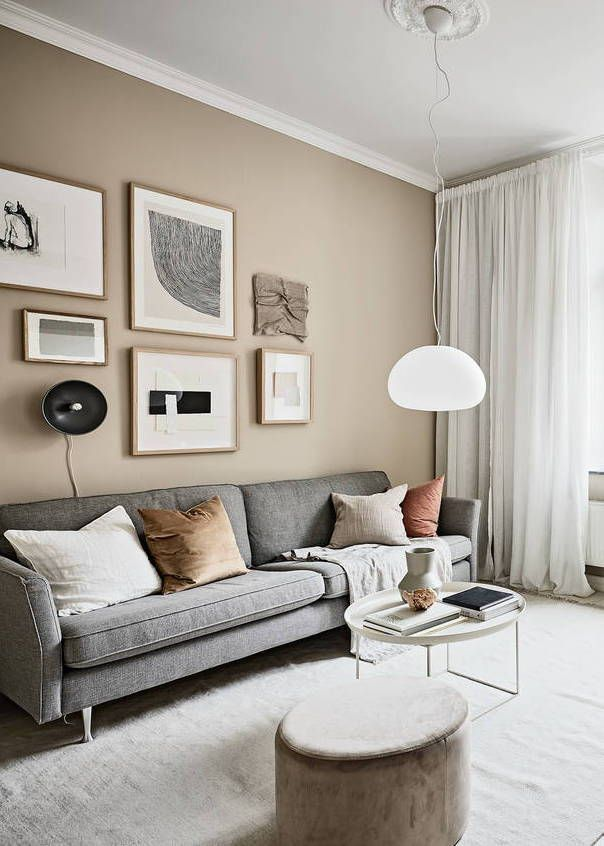 Small Studio With Beige Walls Coco Lapine Design Beige Living Room Decor Small Living Room Design Beige Living Rooms