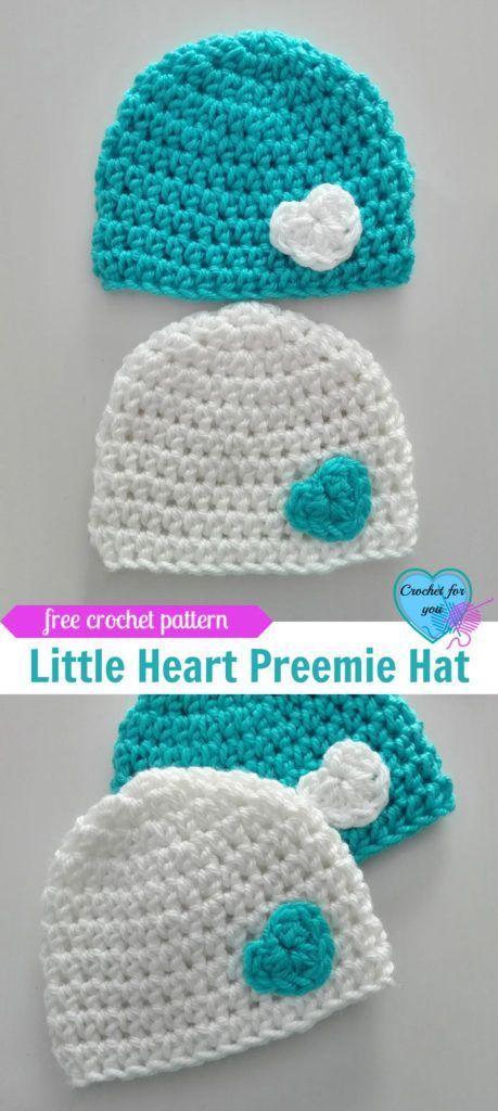 Little Heart Crochet Preemie Hat Free Pattern Crochet Crochet