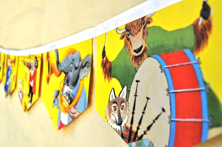 Animal Orchestra: Vintage Little Golden Book Bunting Children Paper Decoration nursery story book banner eco friendly re-purposed. $25.00, via Etsy.