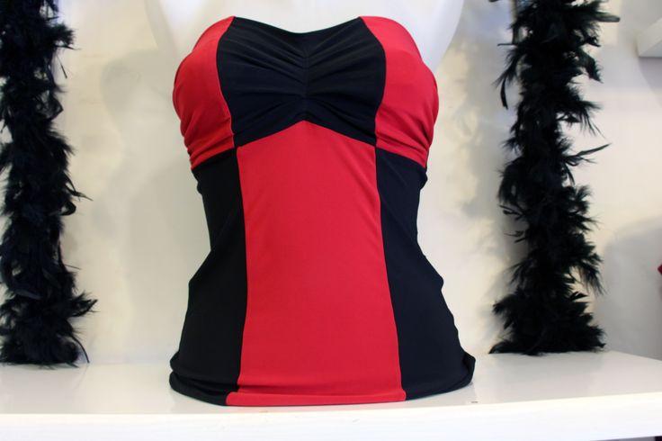 Sütyen Detaylı Kırmızı-Siyah Abiye Bayan Bluz