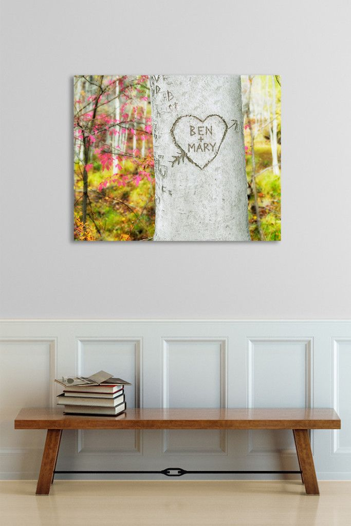 Sweet...personalized canvas for your wall. Your names and date look like they are really carved in the tree!
