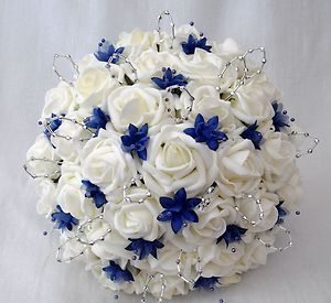 WEDDING FLOWERS - BRIDES POSY BOUQUET, IVORY ROSES AND ROYAL BLUE BABIES BREATH | eBay-needs to be purple!