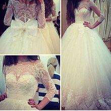 2015 Custom Made vestido de baile Lace três quartos manga vestidos de casamento com arco de volta EDD-021(China (Mainland))