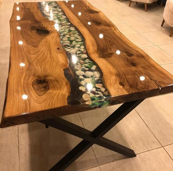 Sold! Vivid Edge, Epoxy resin walnut wood table, kitchen, dining room, office, garden, balcony table