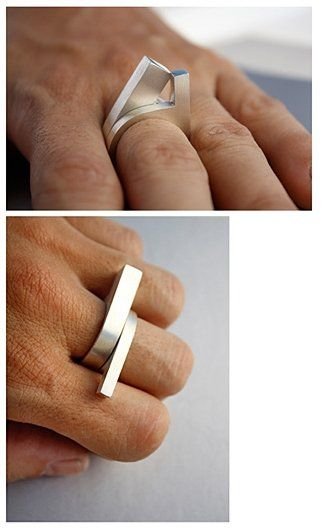 'Mirador' silver ring 2 (long) from Bandada
