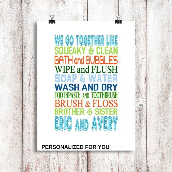 Brother and Sister Bathroom Wall Art, Shared Bathroom. Kids Bathroom Decor, Childrens Bathroom Art, Sibling Bathroom, Home Decor, Print