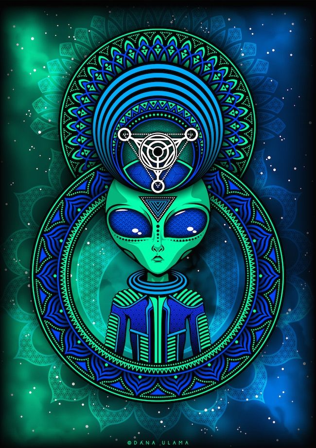 Trippy Alien Psytrance Goa Psychedelic Space Vector Digital Art Drawing Adobe Illustrator