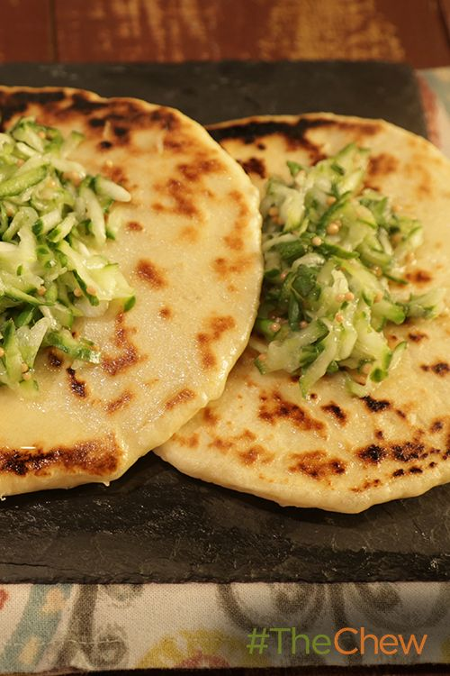 Make this Indian Skillet Naan Bread with Cucumber Relish dish from home!