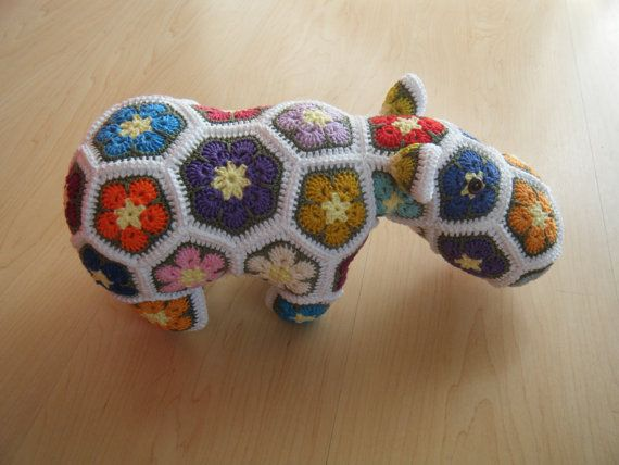 Custom order - Choose your own colors for a crochet hippopotamus made out of African Flowers