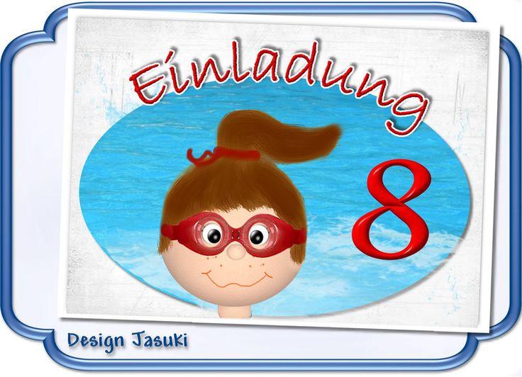 Einladungskarte Kindergeburtstag Schwimmen Mädche