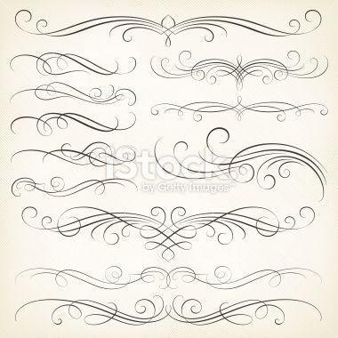 Calligraphie, Encadrement, Ornement, Style victorien, Enroulement Illustration vectorielle libre de droits