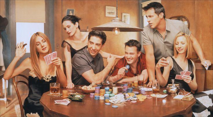 Дженнифер Энистон, Кортни Кокс, Дэвид Швиммер, Мэттью Перри, Мэтт Леблан и Лиза Кудроу играют в покер. Промо сериала