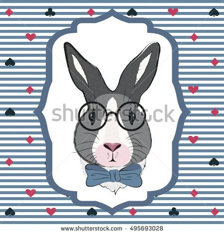 Rabbit wearing glasses. Pattern with fairy rabbit with blue bow. Background with bunny in Wonderland