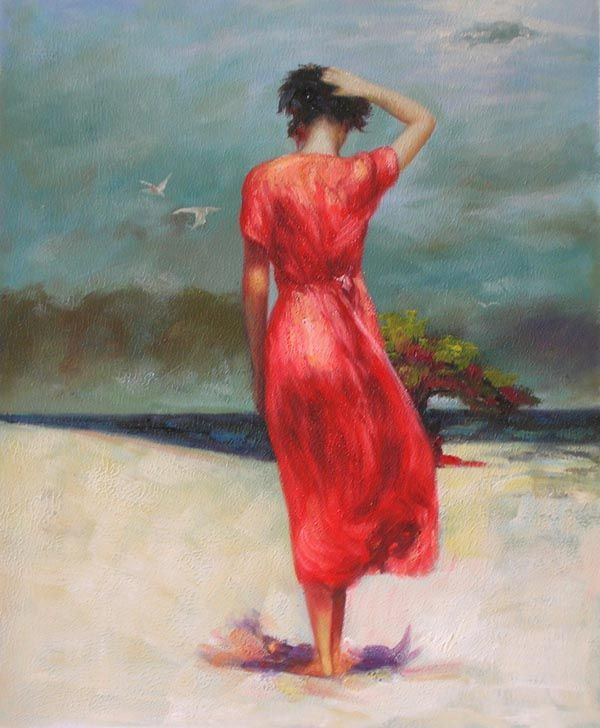 woman in a red dress oil painting red art pinterest
