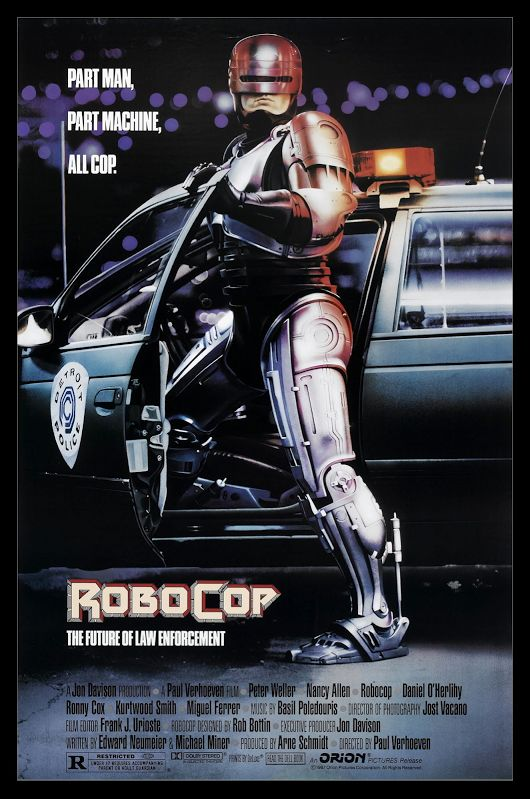 """the movie """"RoboCop"""" debuted in theaters. Directed by Paul Verhoeven, the film stars Peter Weller, Nancy Allen, Dan O'Herlihy, Kurtwood Smith, Miguel Ferrer, and Ronny Cox. Set in a crime-ridden Detroit, Michigan, in the near future, """"RoboCop"""" centers on police officer Alex Murphy (Weller) who is brutally murdered by a gang of criminals and subsequently revived by the megacorporation Omni Consumer Products (OCP) as a superhuman cyborg law enforcer known as """"RoboCop""""."""