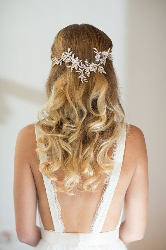 Wedding Hair Vine Lace Head Piece Bridal Hair by PowderBlueBijoux