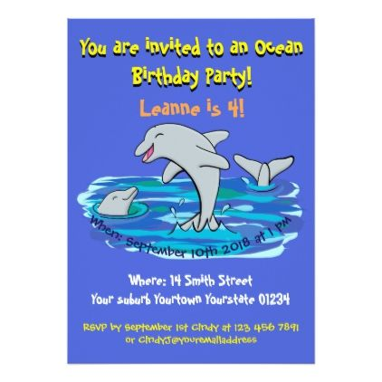 Cute Dolphins Cartoon 4 Years Old Birthday Invite Card
