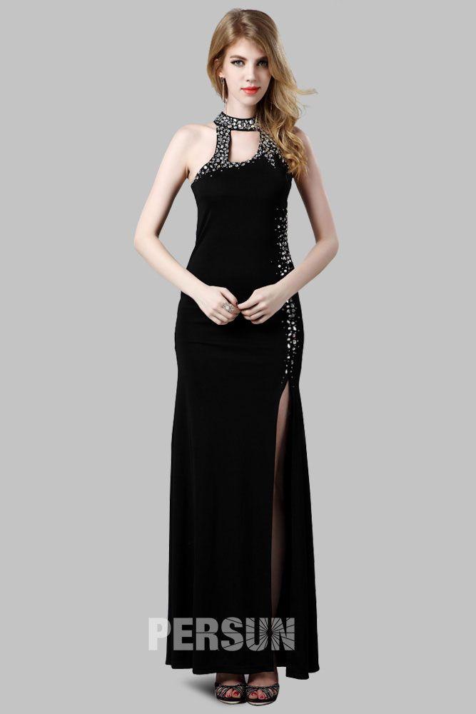 Robe de soiree longue noire fendue