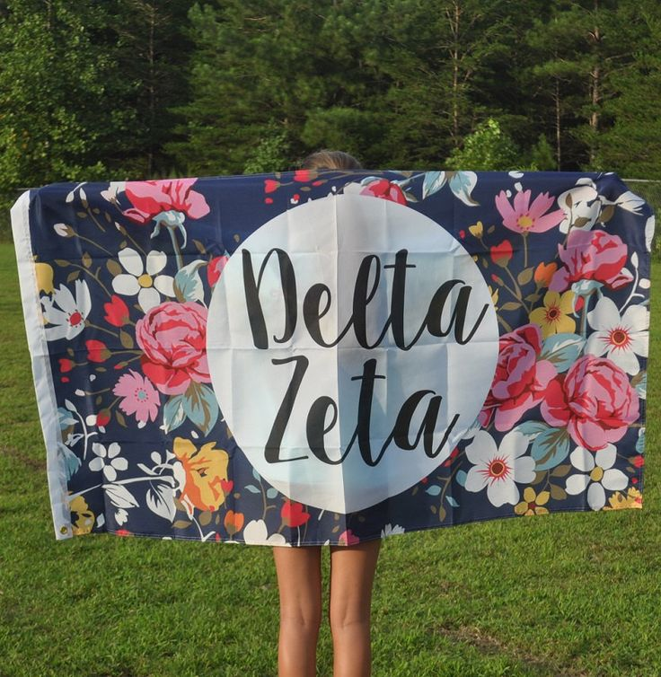 Delta Zeta Floral Flag by NowGreek on Etsy