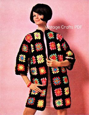 """60s Crochet Vintage Pattern - The Bohemian """"Granny Square"""" Coat –easy fun jacket summer music festival beginner quick fast - Direct from USA by VintageCraftsPDF"""