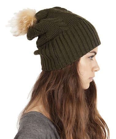 Take a look at this Olive Green Fleece-Lined Pom-Pom Slouch Beanie by Plush on #zulily today! $16.99