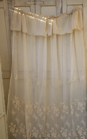 French curtain Use to cover built in open shelves