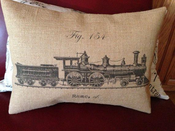 Vintage French train Burlap Decorative Pillow by PolkadotApple, $22.95